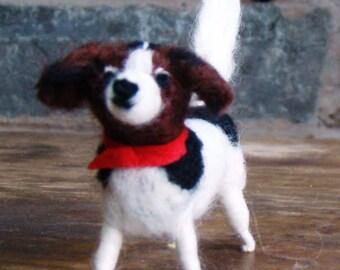 needle felt puppy, felted Jack Russell, needle felt pooch, dog lovers gift, mini felted puppy, dog lover portrait, needle felt animal wool