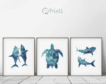 Set of 3 Prints, Nautical Print, Printable Shark, Blue Turtle, Nautical Watercolor, Sealife Blue Art, Bedroom Decor, Sea Fish, Bathroom Art