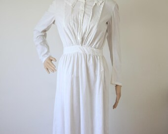 White Cotton Edwardian Dress Women's Size XS/S