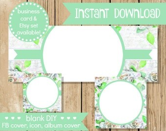 Blank DIY Facebook Set - Music Note Flower - Do It Yourself Blank Facebook Cover - Grey Green Blank Facebook Set Banner - INSTANT DOWNLOAD