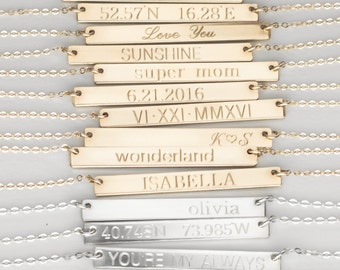 Personalized Silver Bar Necklace, Gold Name Necklace, Silver Nameplate Necklace, Personalized Gold Bar Necklace Engraved Name Plate Necklace