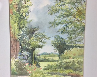 Framed watercolour painting of The Grange Garden by James Bucknill