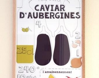"A3 design poster - Graphic recipe ""Eggplant caviar"""