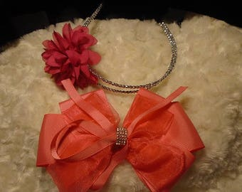 Beautiful 1  bow and 1 flower headband for girls