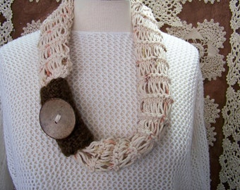 Collar knit cotton thread (Beige Moustache Brown, orange, green) # 708