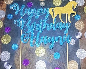 Horse Cake Topper/Happy Birthday Custom Name with Horse Cake Topper/Horse Topper/Birthday Horse Cake Topper/Happy Birthday Cake Topper