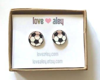 Soccer earrings cute soccer jewelry futbol soccer league soccer ball earrings