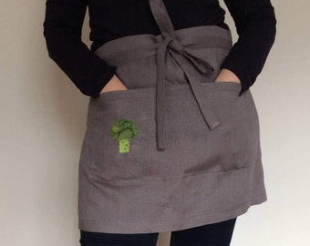 Personalized Apron, Gray Cafe Apron with Embroidered Broccoli, Embroidered Linen Half Apron, Embroidered Apron, Embroidered Chef Apron