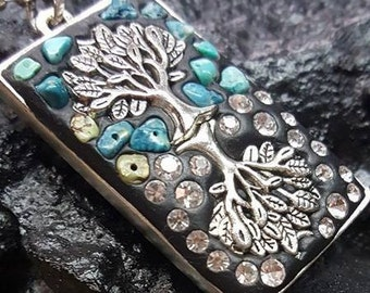 Rooted in Him Turquoise and Rhinestone Necklace