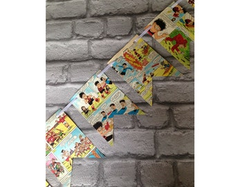 Vintage BEANO comic strip colourful paper bunting garland - Dennis the menace boy teenage recycled 1980s book pages