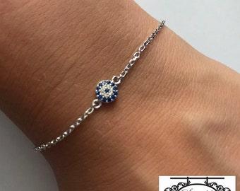 Sterling Silver Mini Evil Eye Bracelet / Silver Small Cubic Zirconia Eye Bracelet / Evil Eye Bracelet  / Mati Malocchio Olhado Bracelet