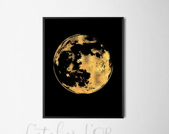 Moon Silhouette - Gold Foil Print - Wall Art - Room Decor - Inspiration - Handmade Gold Print -