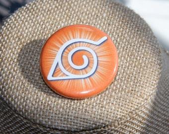 Naruto Hidden Leaf Village Symbol Button, Naruto Hidden Leaf Symbol Pin, Konohagakure Button, Konoha Symbol Pin