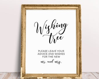 Wishing Tree Sign, Wedding Signage, Wishing Tree, Wedding Wishing Tree, Leave Your Wishes Sign, Wedding Reception Signs, Well Wishes Tree