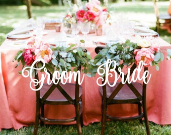 Wedding .Chair Signs  Bride and Groom. Wedding Decor.
