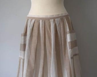 Vintage Linen Stripped Mini Skirt / High-waisted Flared Skirt / Stripes / Beige, off white / Side pockets / Woman