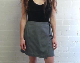 Grey Wrap Mini Skirt