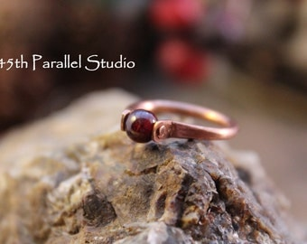 Garnet Ring, Forged Copper Ring, January Birthstone Ring, Red Bead Ring, Womens Ring, Riveted Ring, Copper Ring