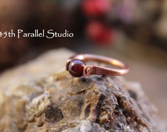 Garnet Ring, January Birthstone Ring, Red Bead Ring, Gemstone Ring, Womens Ring, Riveted Ring, Copper Ring, Garnet Jewelry, Garnet, Copper