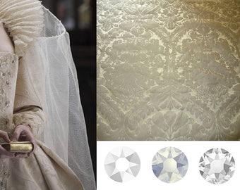 Custom Made Elizabeth the Golden Age Tudor Cream Damask and Swarovski Crystal Court Gown
