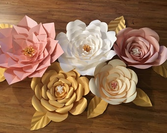 5 Piece Paper Flower/7 Leaves Set