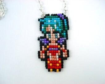 Terra Final Fantasy 6 VI Pixelated Beaded Sprite Necklace - Video Game Geeky Jewelry Nerdy Hero Esper