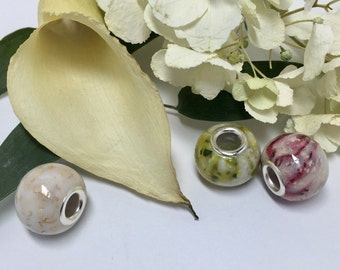 PWSC03, Flower petal beads, European style, large hole beads, keepsake and memorial jewelry
