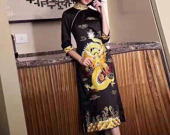 Quarter-Sleeve Mandarin Qipao Dress (Black or Red)