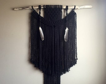 Black XLarge Macramé Wall Hanging Ooak Driftwood Feathers Boho Hippie Bohemian Eclectic Contemporary Fringe Brass Rustic Hanging