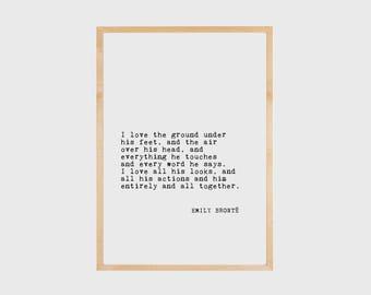 Emily Bronte, Literary Quote, Literary Print, Book Art, Love Quote, Literary Poster, Literary Wall Art, Literary Printable, PRINTABLE