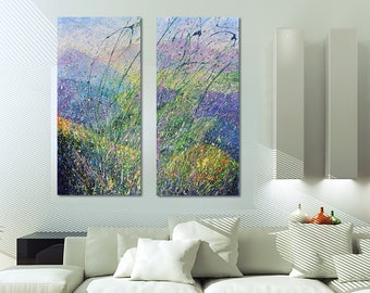 Original Diptych Mountain Original style Mountain Diptych Mountain Painting Modern Art Canvas Sensual Dyptych Decor for bedroom Livingroom