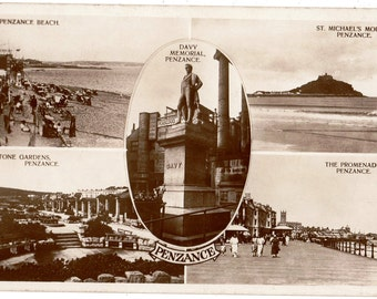 VINTAGE Real Photo Postcard, PENZANCE,CORNWALL,Multi views,Posted 1935