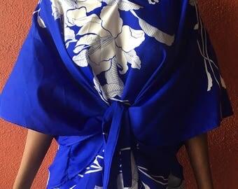 Vintage Hawaiian Print Kimono Blouse