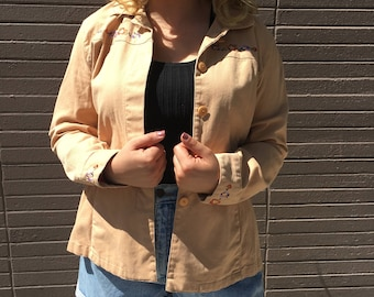 70s Style Vintage Peach Tan Button Up Embroidered Jacket