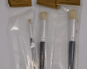 Stencil Brush Set, Three, 5/8. 1/2, 3/16, Decorator, DIY, Wall Art