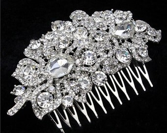 Luxury Austrian Cystal & Rhinestone Leaf Hair Comb Wedding Bridal Vintage Hair Accessories Women Headpieces BH1022i