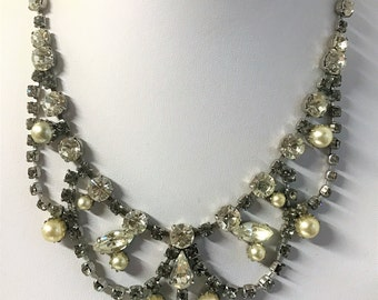 A Stunning Vintage Diamante and Faux Pearl Necklace - Retro, Bridal Jewellery