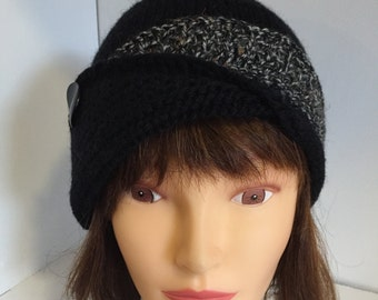 Black Fold Back Hat with Button, Womens Handknit Hat, Black Tweed Fancy Hat, Winter Wool Hat, Knitted Gifts for Her, 1940s Style Cloche