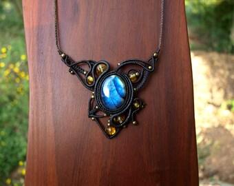 macrame - necklace - labradorite in Estonia and Lithuania Baltic amber beads - micro macrame