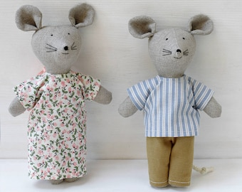 Two sweet Mice From the Vistula River, Mouse mom, Mouse dad, Fabric mouse toy, Soft pastel toys mice, Mouse doll, Mouse toy
