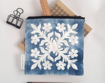 zipper pouch, fashion accessories, White Flower - Blue Background, eco-friendly, Pocket Bag, clutch bag, Cosmetic bag, Pencil Pouch