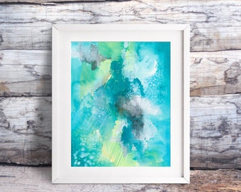 "Abstract ""Study in Blues"" Watercolor Painting. Fine Art Print. Decor. Giclée. Modern Art."