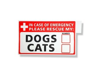 Emergency Pet Rescue self-adhesive sign for dogs & cats. Durable vinyl decals for indoors and outdoors