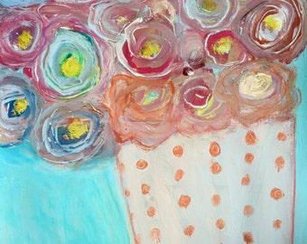 Original Abstract Floral Painting, home decor, modern