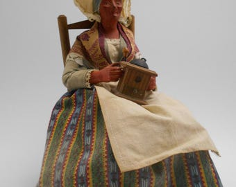 Vintage Santon - Woman with Coffee Grinder - Made in France