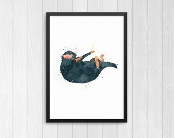 Niffler, Fantastic Beasts, Fantastic Beasts Niffler, watercolor, Harry Potter, Digital Print Poster