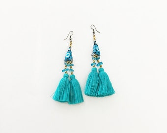 Tassel Earring With Embroidered Lace