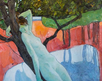 Original Art Oil Painting Nude Woman Figure On Lake Landscape. Pear tree Green Blue Sky Background Red Field Water reflection. 2015.