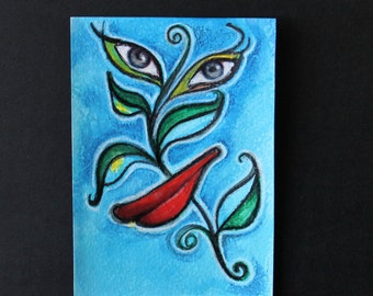 Mother Nature Knows Best Original Artwork Pop Surrealism Art Small Painting Collage Unusual Gift Unique Environment blue green red black