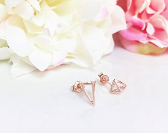 Open Triangle Earrings, 3D Geometric Rose Gold Stud Earrings, Gold Pyramid Earrings, Triangle studs, Minimalist Earrings, Gift for her